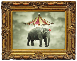 Logo Rahmenswert: Bilderrahmen mit fliegendem Elefanten